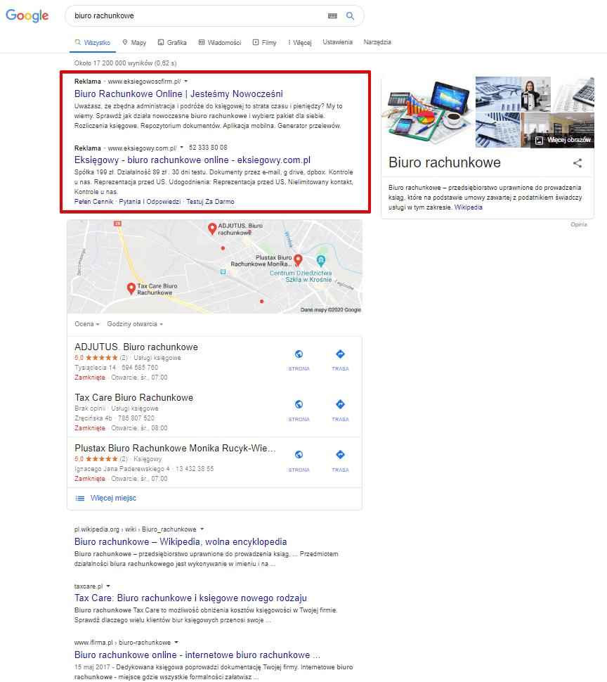 Przykład reklam PPC w wynikach wyszukiwania Google
