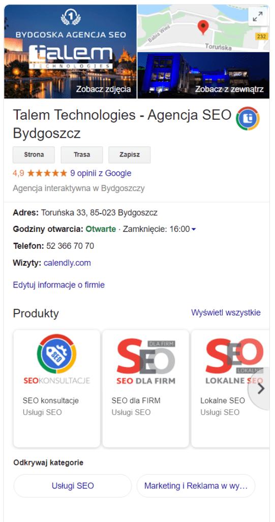 Google Moja Firma Lokalne SEO i pozycjonowanie stron Bydgoszcz w Talem