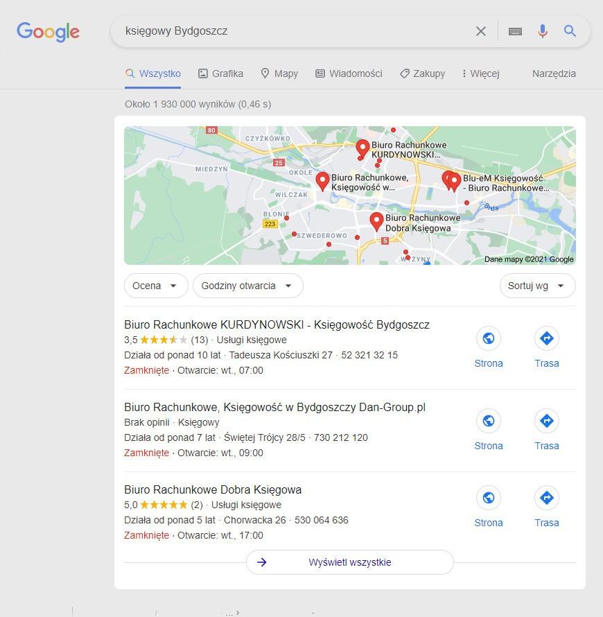 Google Snack Pack - wyszukiwanie lokalne